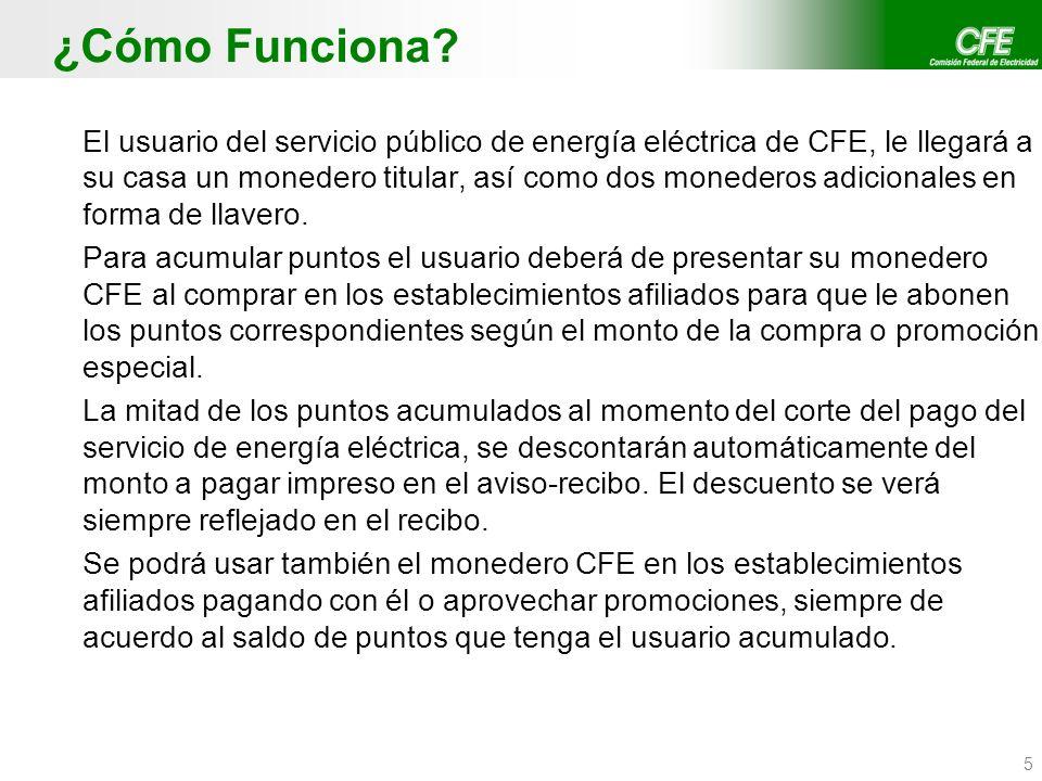 5 ¿Cómo Funciona? El usuario del servicio público de energía eléctrica de CFE, le llegará a su casa un monedero titular, así como dos monederos adicio