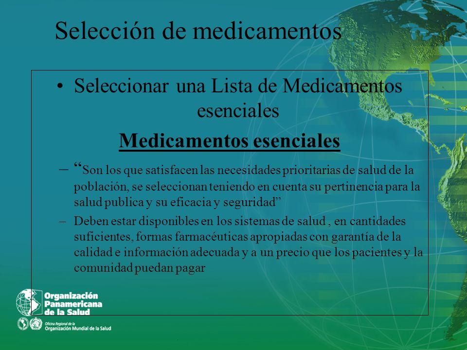 Selección de medicamentos Seleccionar una Lista de Medicamentos esenciales Medicamentos esenciales – Son los que satisfacen las necesidades prioritari