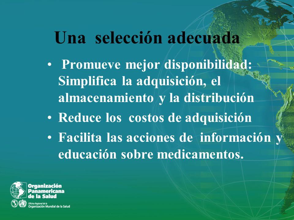 Una selección adecuada Promueve mejor disponibilidad: Simplifica la adquisición, el almacenamiento y la distribución Reduce los costos de adquisición
