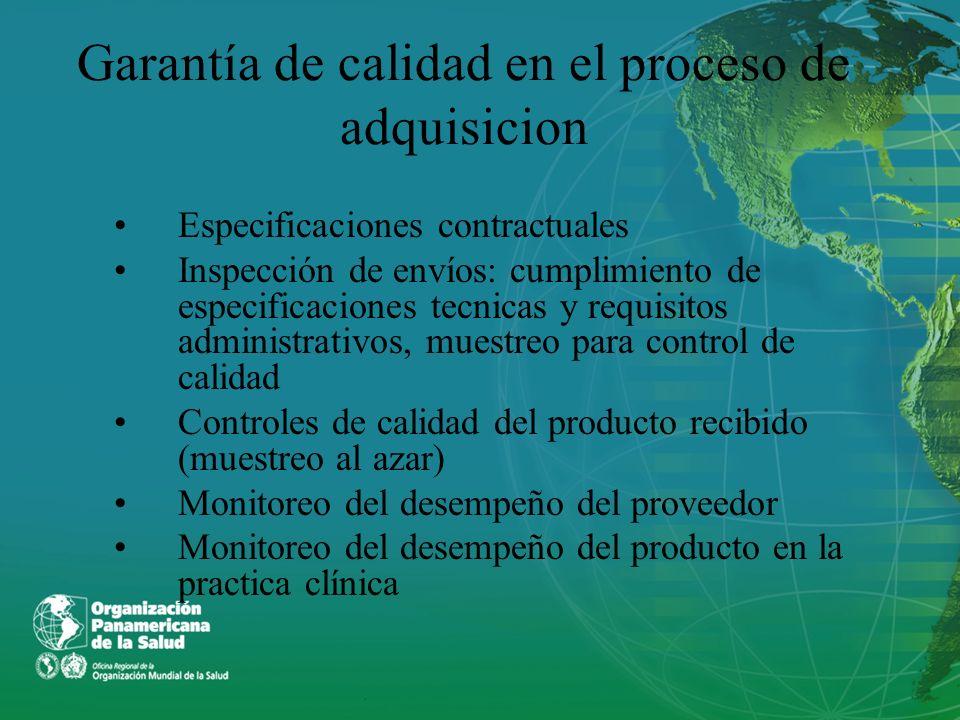 Garantía de calidad en el proceso de adquisicion Especificaciones contractuales Inspección de envíos: cumplimiento de especificaciones tecnicas y requ