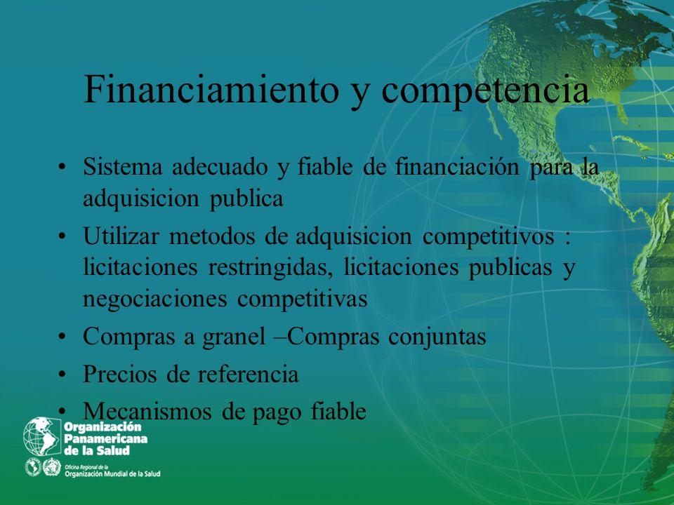 Financiamiento y competencia Sistema adecuado y fiable de financiación para la adquisicion publica Utilizar metodos de adquisicion competitivos : lici