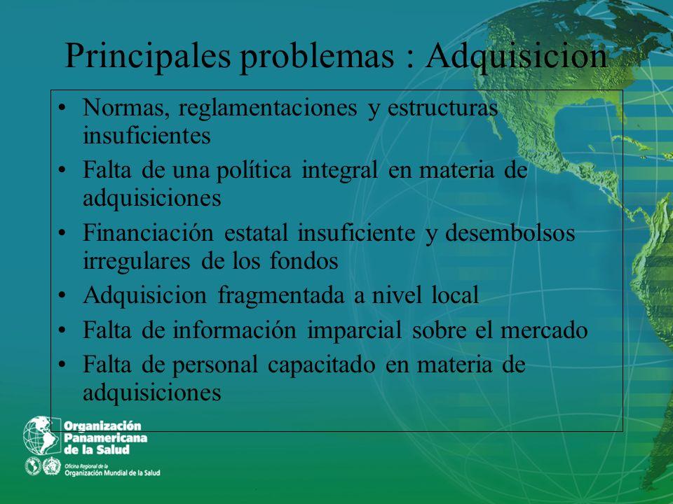 Principales problemas : Adquisicion Normas, reglamentaciones y estructuras insuficientes Falta de una política integral en materia de adquisiciones Fi