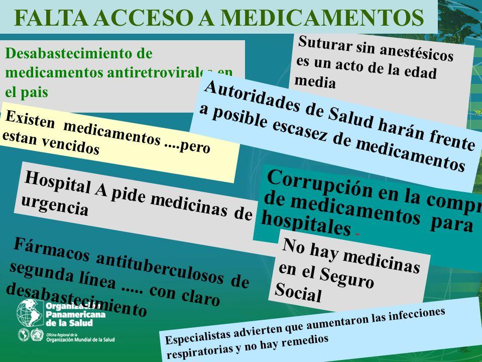 Desabastecimiento de medicamentos antiretrovirales en el pais Suturar sin anestésicos es un acto de la edad media Hospital A pide medicinas de urgenci