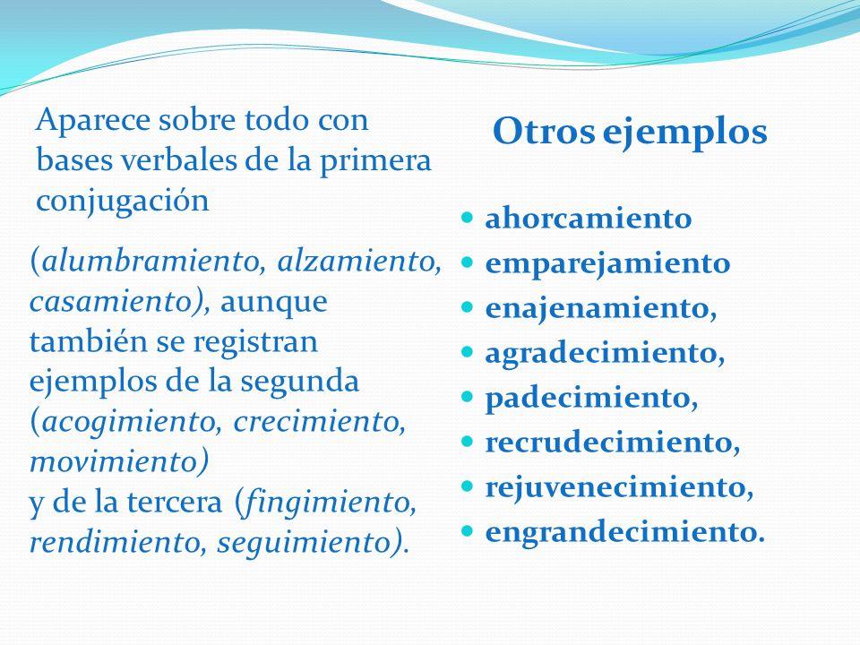 Otros ejemplos ahorcamiento emparejamiento enajenamiento, agradecimiento, padecimiento, recrudecimiento, rejuvenecimiento, engrandecimiento. Aparece s