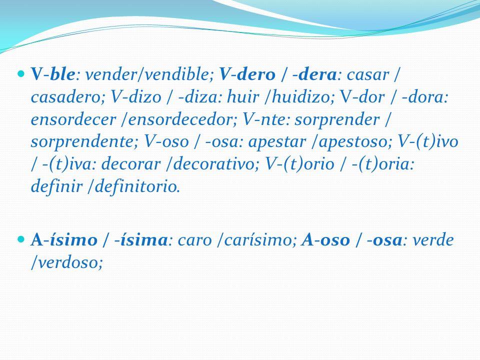V-ble: vender/vendible; V-dero / -dera: casar / casadero; V-dizo / -diza: huir /huidizo; V-dor / -dora: ensordecer /ensordecedor; V-nte: sorprender /