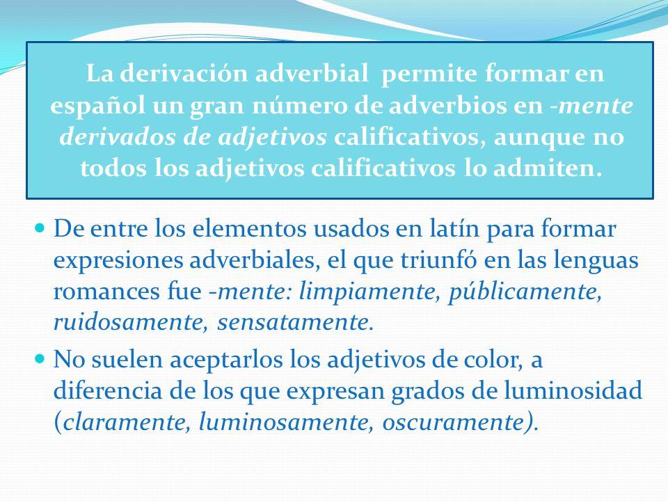 La derivación adverbial permite formar en español un gran número de adverbios en -mente derivados de adjetivos calificativos, aunque no todos los adje