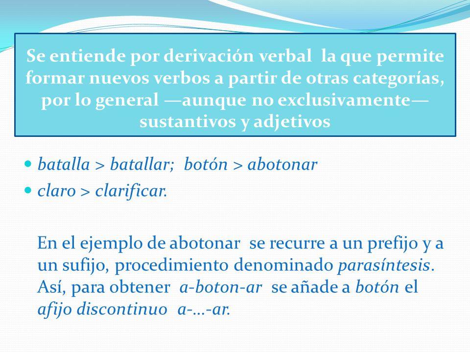 Se entiende por derivación verbal la que permite formar nuevos verbos a partir de otras categorías, por lo general aunque no exclusivamente sustantivo