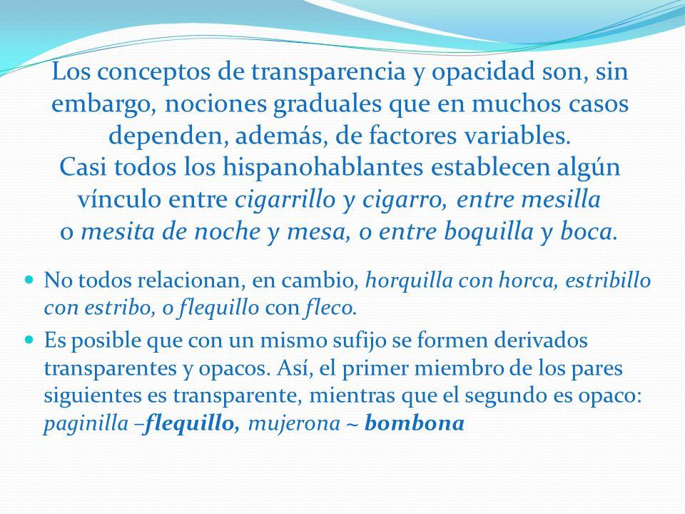 Los conceptos de transparencia y opacidad son, sin embargo, nociones graduales que en muchos casos dependen, además, de factores variables. Casi todos
