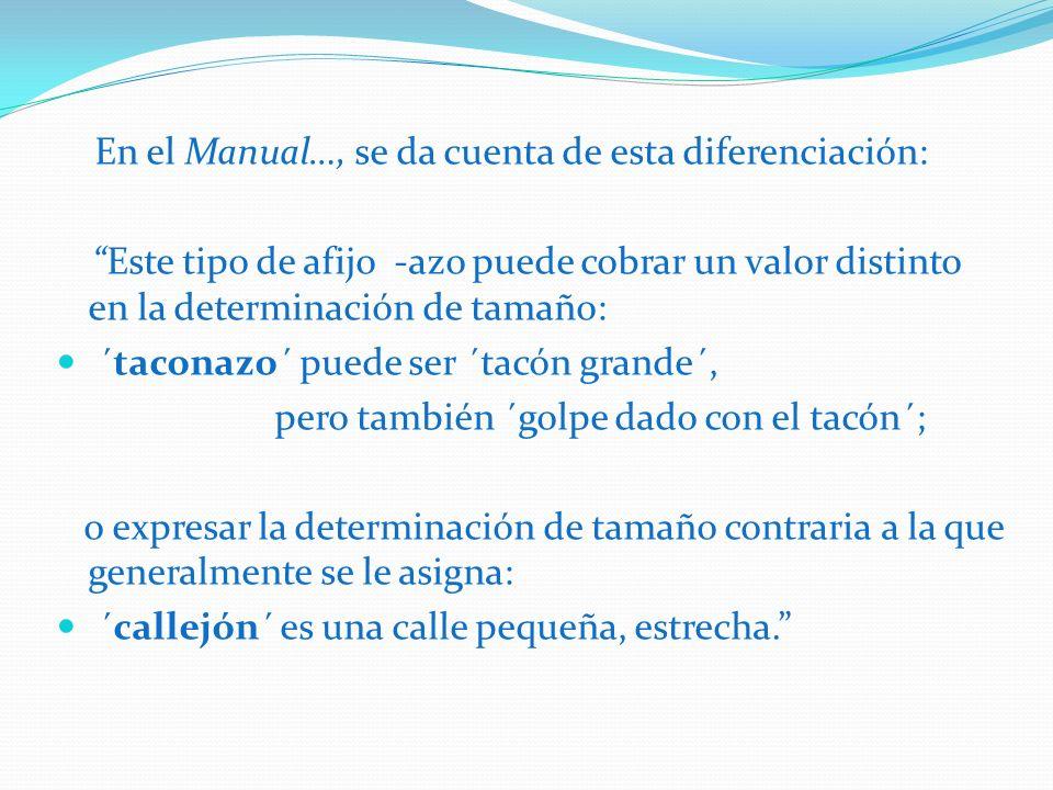 En el Manual…, se da cuenta de esta diferenciación: Este tipo de afijo -azo puede cobrar un valor distinto en la determinación de tamaño: ´taconazo´ p