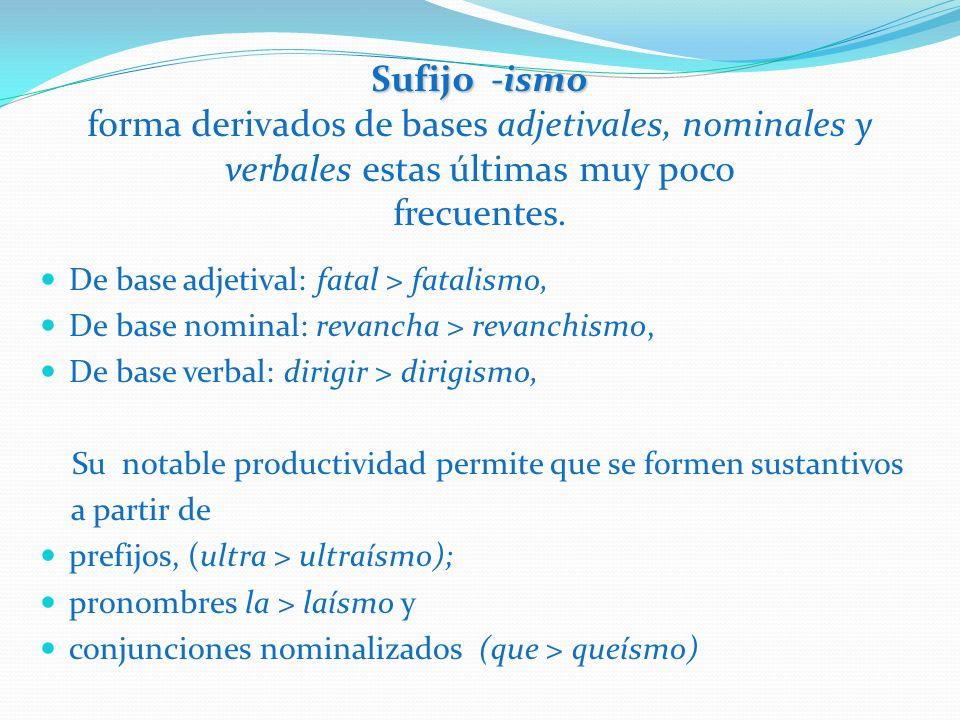 Sufijo -ismo Sufijo -ismo forma derivados de bases adjetivales, nominales y verbales estas últimas muy poco frecuentes. De base adjetival: fatal > fat