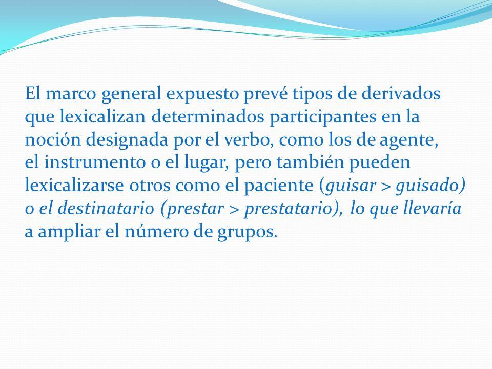 El marco general expuesto prevé tipos de derivados que lexicalizan determinados participantes en la noción designada por el verbo, como los de agente,