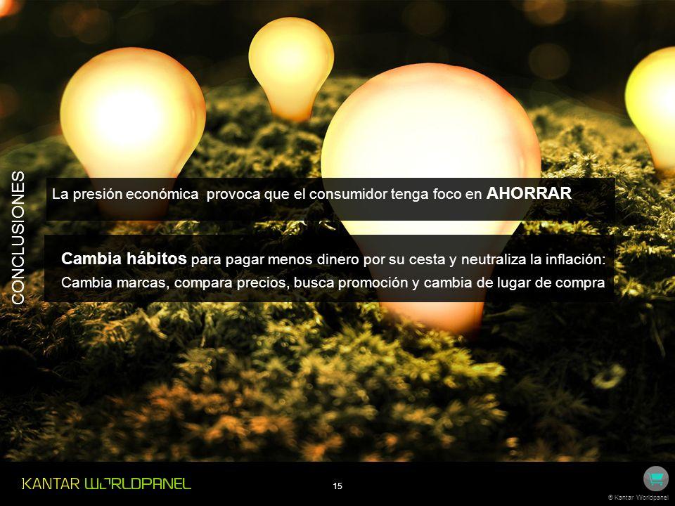 15 © Kantar Worldpanel La presión económica provoca que el consumidor tenga foco en AHORRAR Cambia hábitos para pagar menos dinero por su cesta y neut
