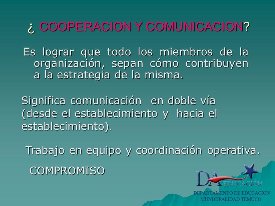 ¿ COOPERACION Y COMUNICACION.