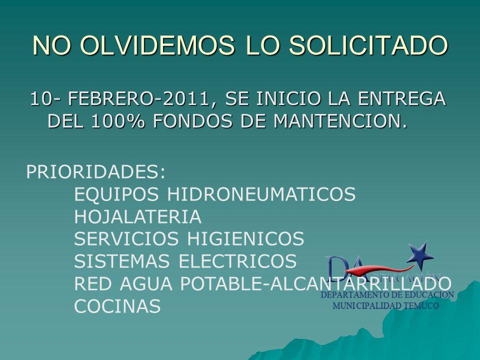 NO OLVIDEMOS LO SOLICITADO 10- FEBRERO-2011, SE INICIO LA ENTREGA DEL 100% FONDOS DE MANTENCION.