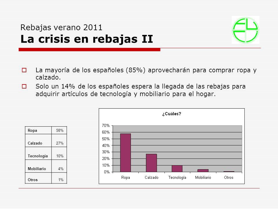 Rebajas verano 2011 La crisis en rebajas II La mayoría de los españoles (85%) aprovecharán para comprar ropa y calzado.