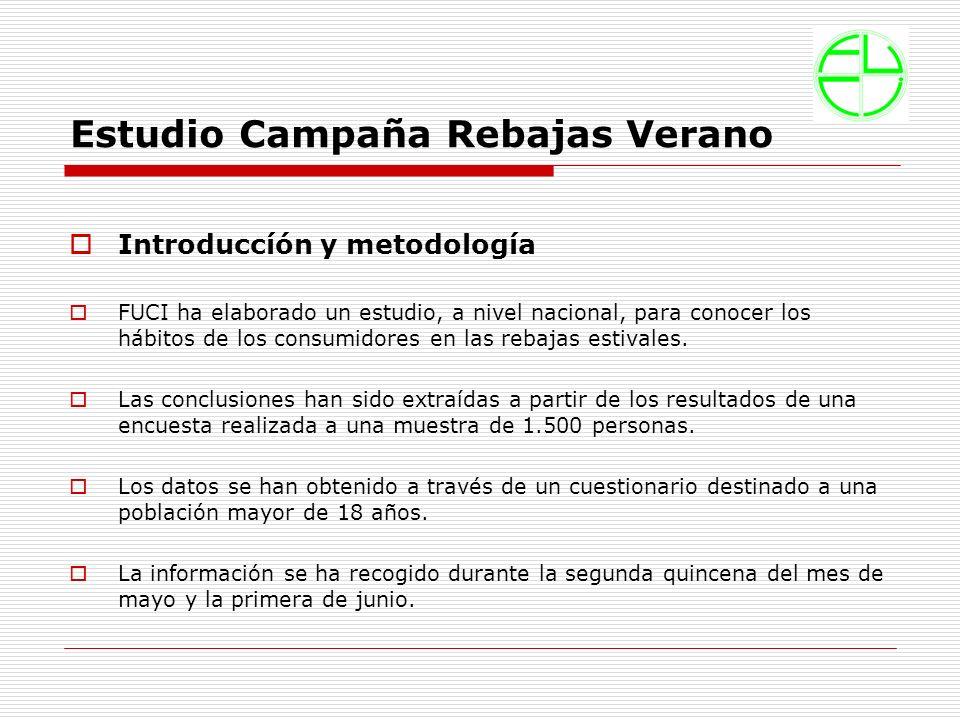 Estudio Campaña Rebajas Verano Introduccíón y metodología FUCI ha elaborado un estudio, a nivel nacional, para conocer los hábitos de los consumidores en las rebajas estivales.