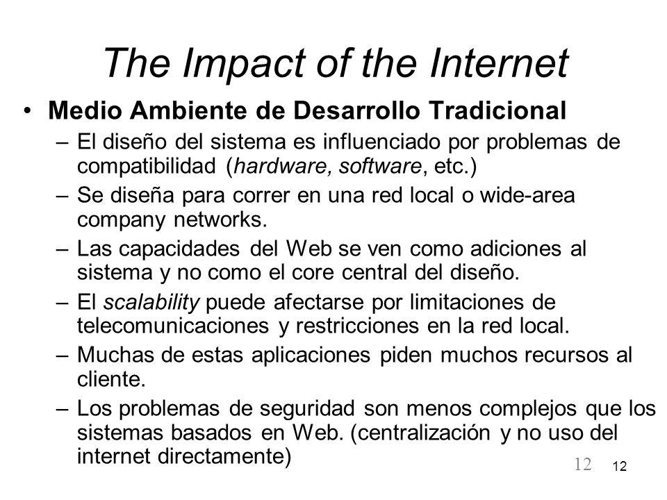 12 The Impact of the Internet Medio Ambiente de Desarrollo Tradicional –El diseño del sistema es influenciado por problemas de compatibilidad (hardwar