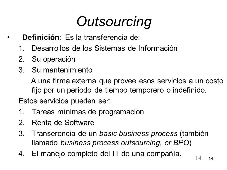 14 Outsourcing Definición: Es la transferencia de: 1.Desarrollos de los Sistemas de Información 2.Su operación 3.Su mantenimiento A una firma externa