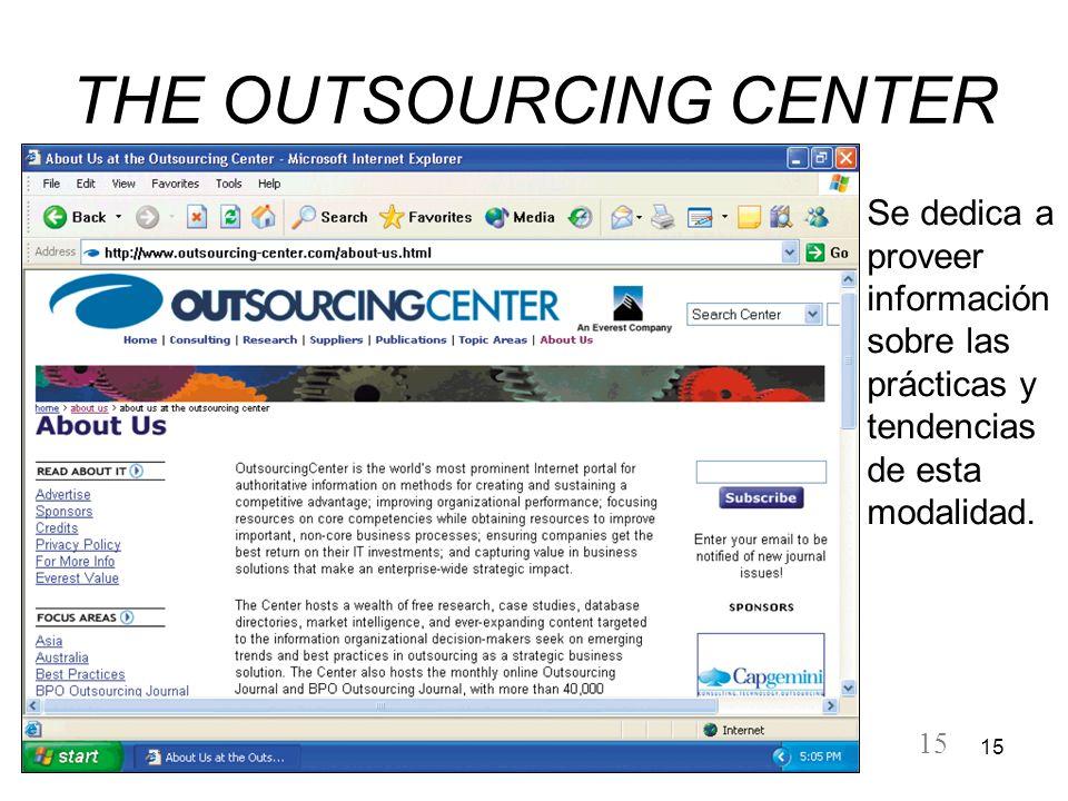 15 THE OUTSOURCING CENTER Se dedica a proveer información sobre las prácticas y tendencias de esta modalidad.