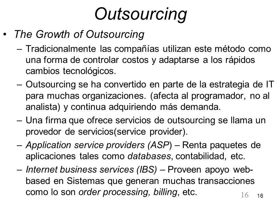 16 Outsourcing The Growth of Outsourcing –Tradicionalmente las compañías utilizan este método como una forma de controlar costos y adaptarse a los ráp