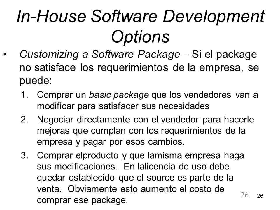 26 In-House Software Development Options Customizing a Software Package – Si el package no satisface los requerimientos de la empresa, se puede: 1.Com
