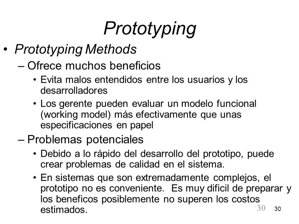 30 Prototyping Prototyping Methods –Ofrece muchos beneficios Evita malos entendidos entre los usuarios y los desarrolladores Los gerente pueden evalua