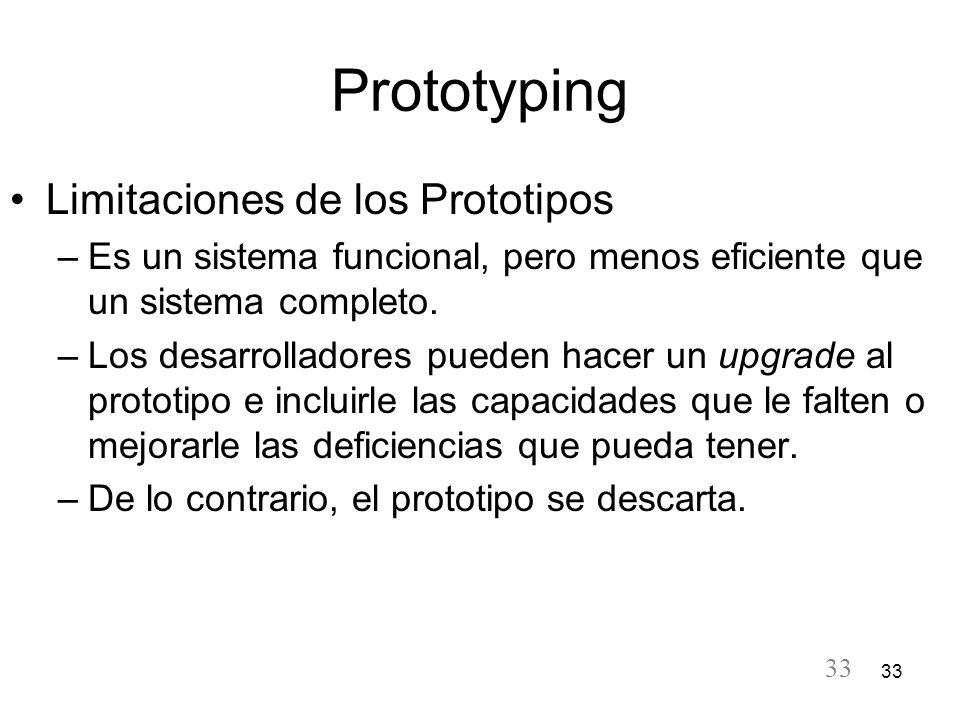 33 Prototyping Limitaciones de los Prototipos –Es un sistema funcional, pero menos eficiente que un sistema completo. –Los desarrolladores pueden hace