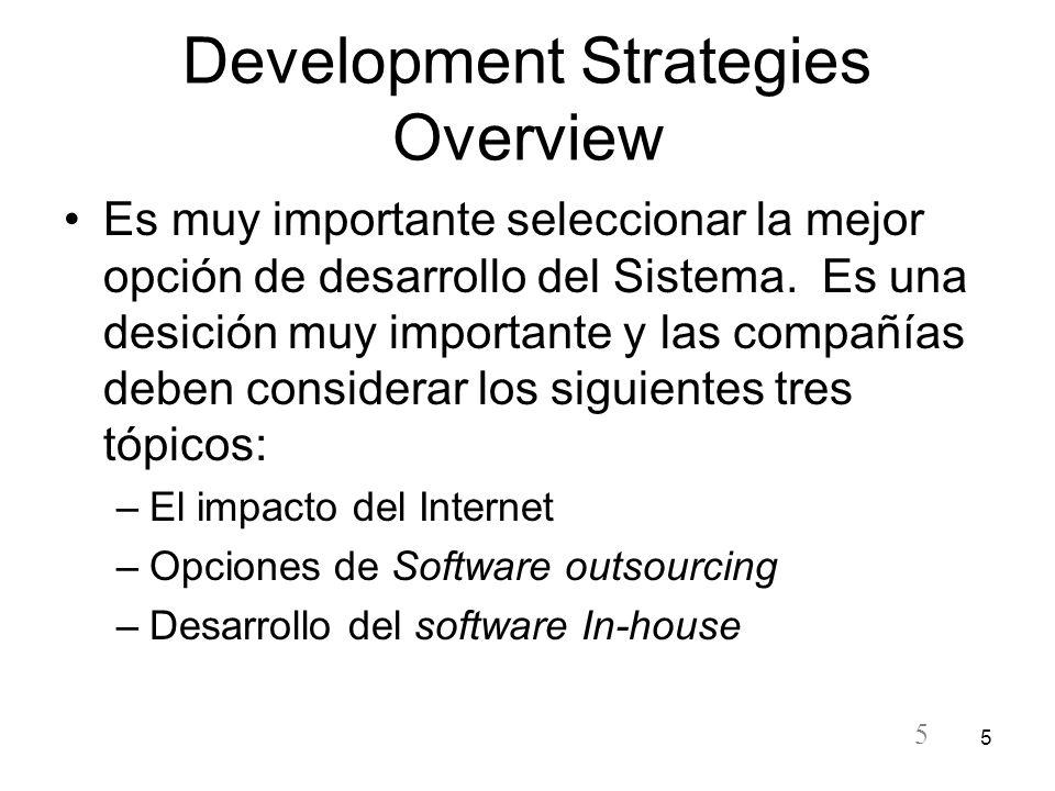 5 5 Development Strategies Overview Es muy importante seleccionar la mejor opción de desarrollo del Sistema. Es una desición muy importante y las comp