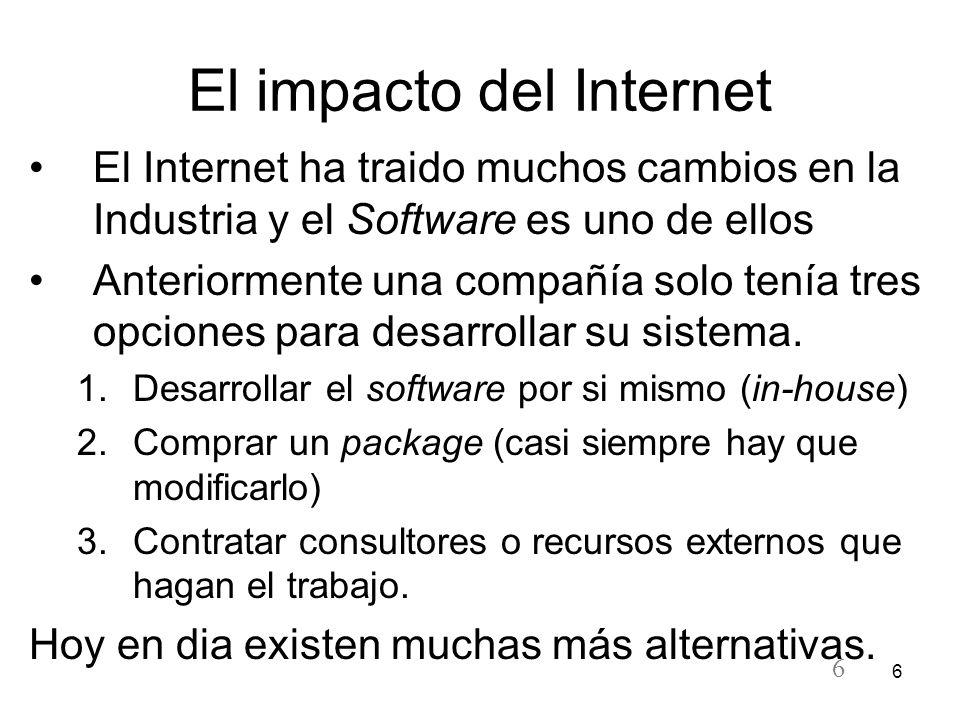 6 6 El impacto del Internet El Internet ha traido muchos cambios en la Industria y el Software es uno de ellos Anteriormente una compañía solo tenía t