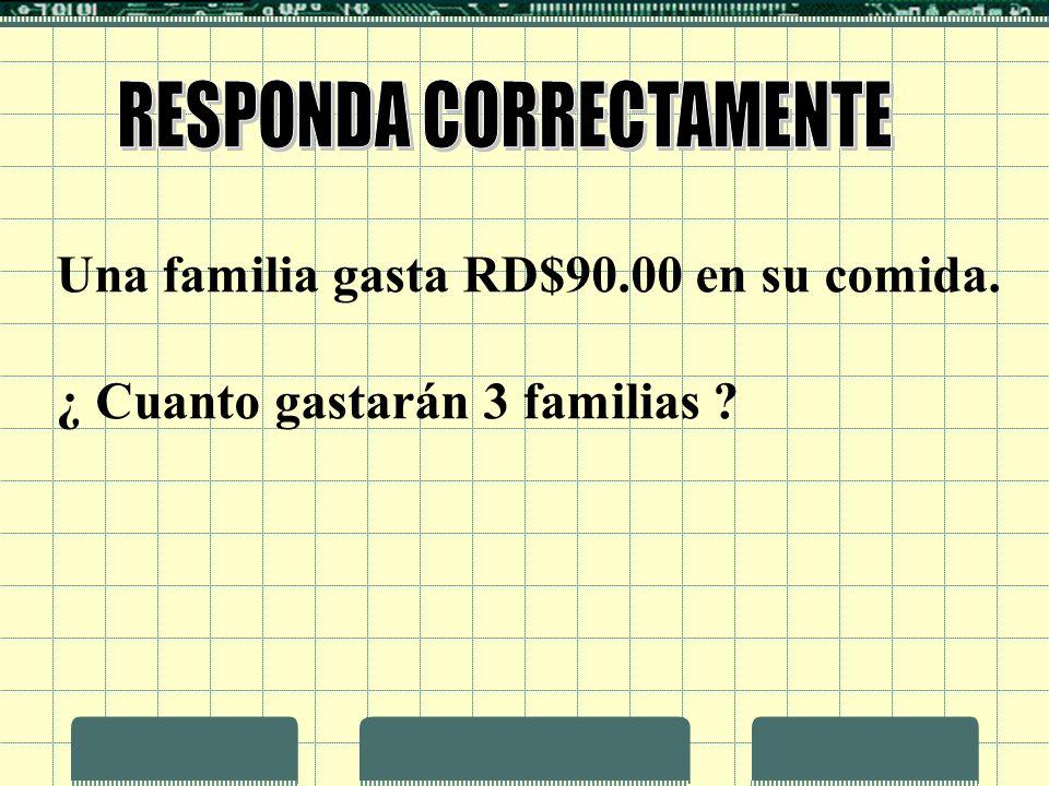 Una familia gasta RD$90.00 en su comida. ¿ Cuanto gastarán 3 familias ?