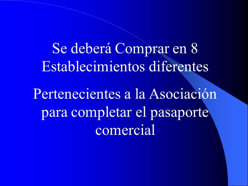 Se deberá Comprar en 8 Establecimientos diferentes Pertenecientes a la Asociación para completar el pasaporte comercial