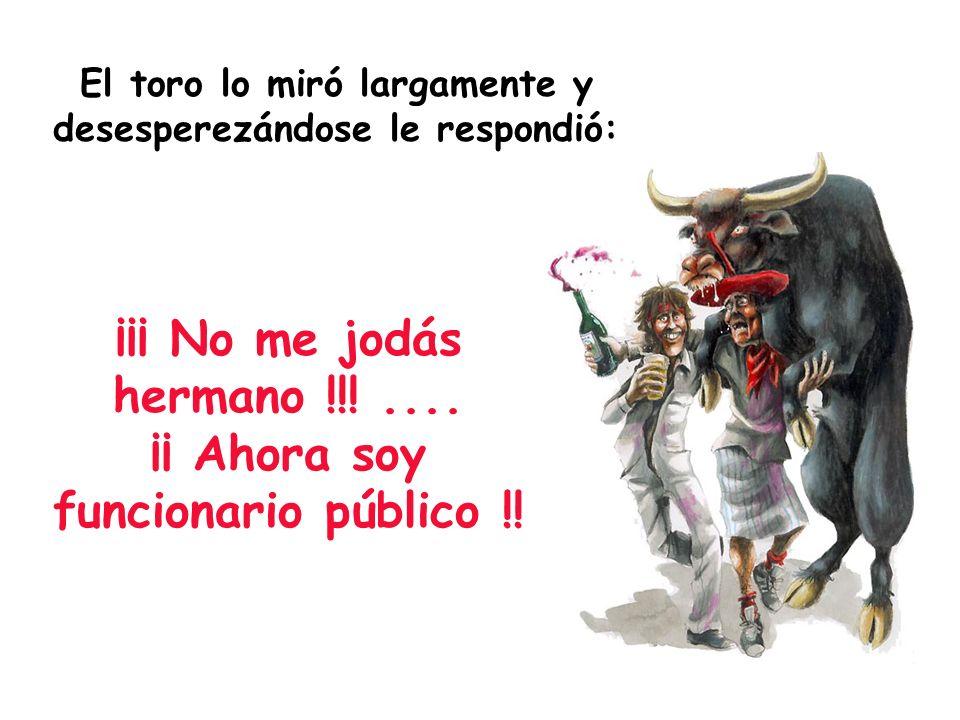 El toro lo miró largamente y desesperezándose le respondió: ¡¡¡ No me jodás hermano !!!.... ¡¡ Ahora soy funcionario público !!
