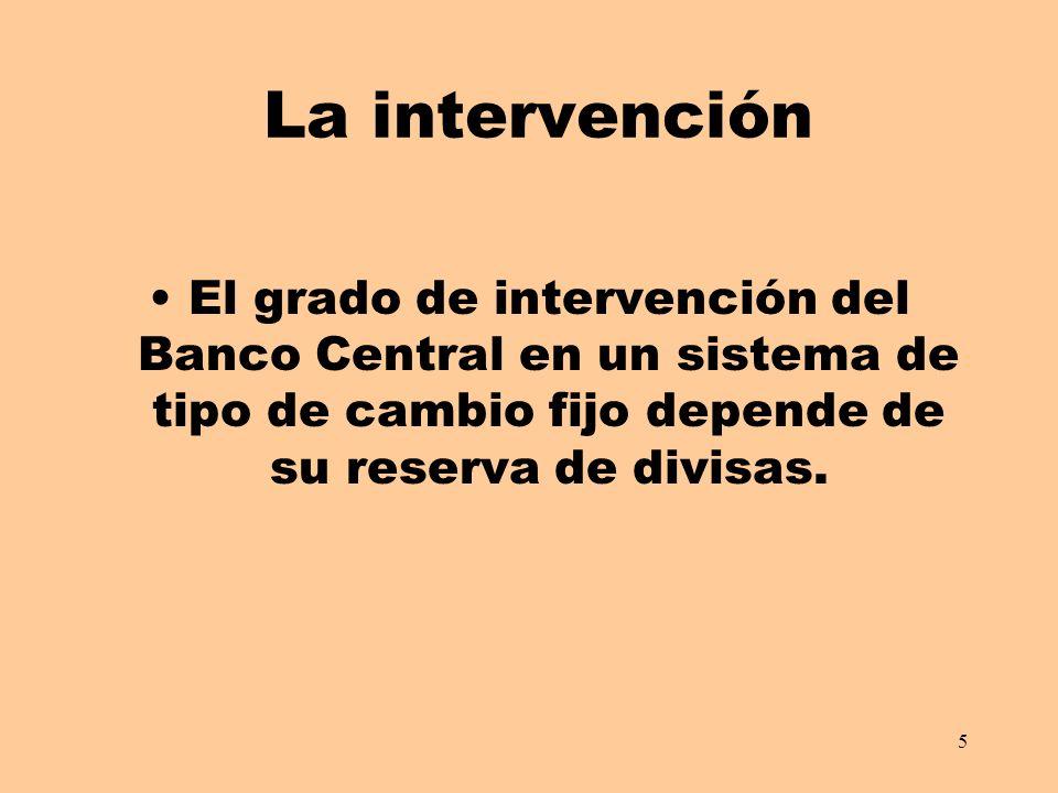 5 La intervención El grado de intervención del Banco Central en un sistema de tipo de cambio fijo depende de su reserva de divisas.