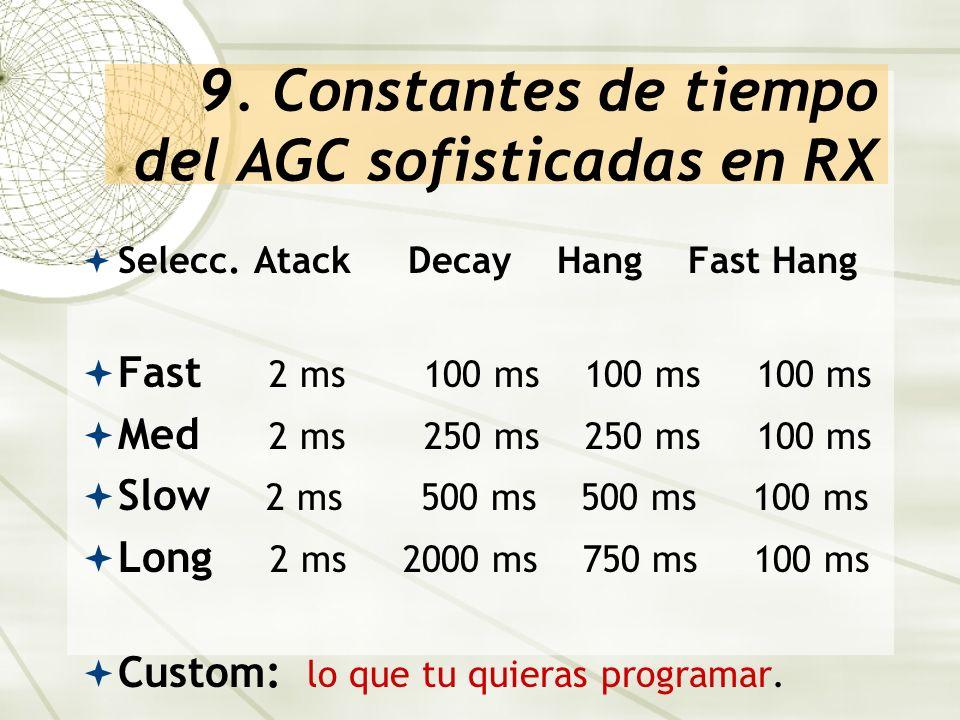 9. Constantes de tiempo del AGC sofisticadas en RX Selecc. Atack Decay Hang Fast Hang Fast 2 ms 100 ms 100 ms 100 ms Med 2 ms 250 ms 250 ms 100 ms Slo