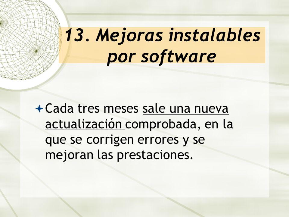 13. Mejoras instalables por software Cada tres meses sale una nueva actualización comprobada, en la que se corrigen errores y se mejoran las prestacio