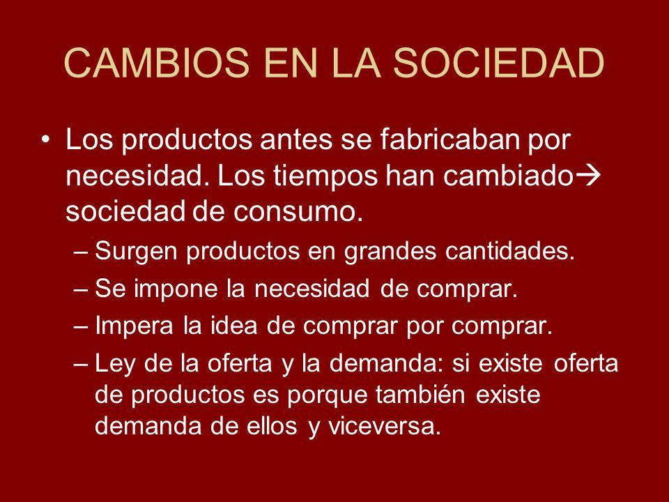 CAMBIOS EN LA SOCIEDAD Los productos antes se fabricaban por necesidad. Los tiempos han cambiado sociedad de consumo. –Surgen productos en grandes can