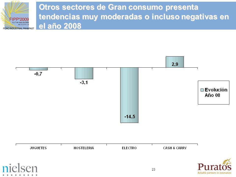 23 Otros sectores de Gran consumo presenta tendencias muy moderadas o incluso negativas en el año 2008