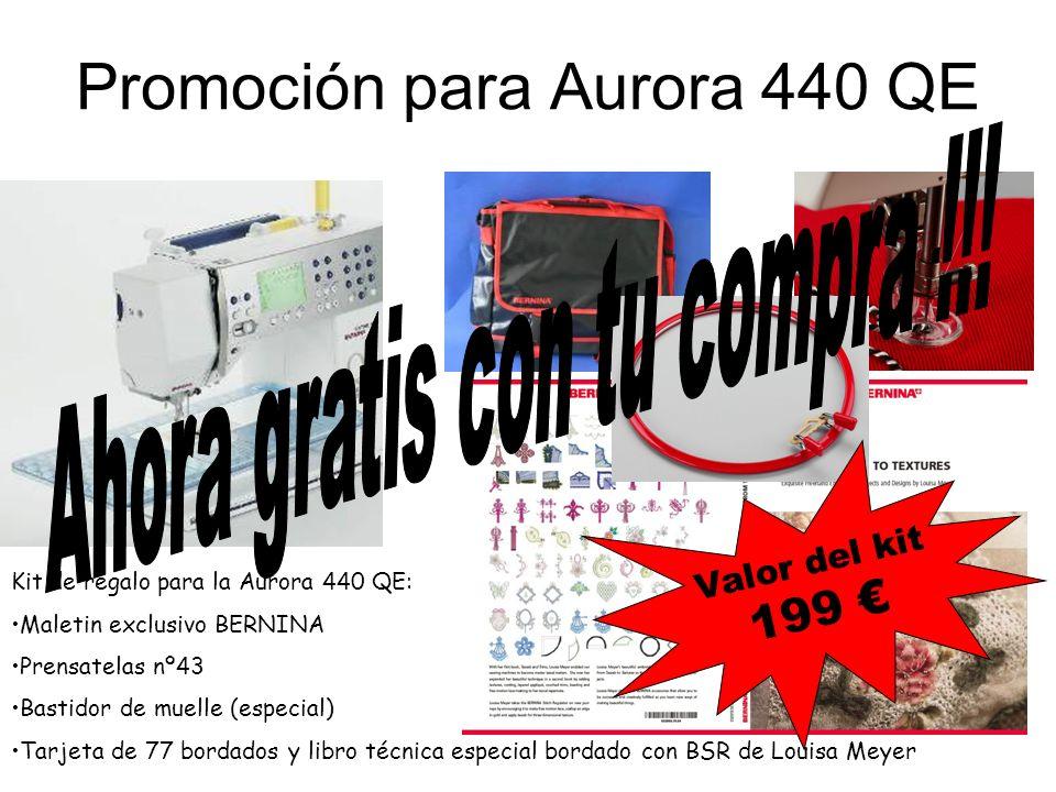 Promoción para Aurora 440 QE Kit de regalo para la Aurora 440 QE: Maletin exclusivo BERNINA Prensatelas nº43 Bastidor de muelle (especial) Tarjeta de 77 bordados y libro técnica especial bordado con BSR de Louisa Meyer V a l o r d e l k i t 1 9 9