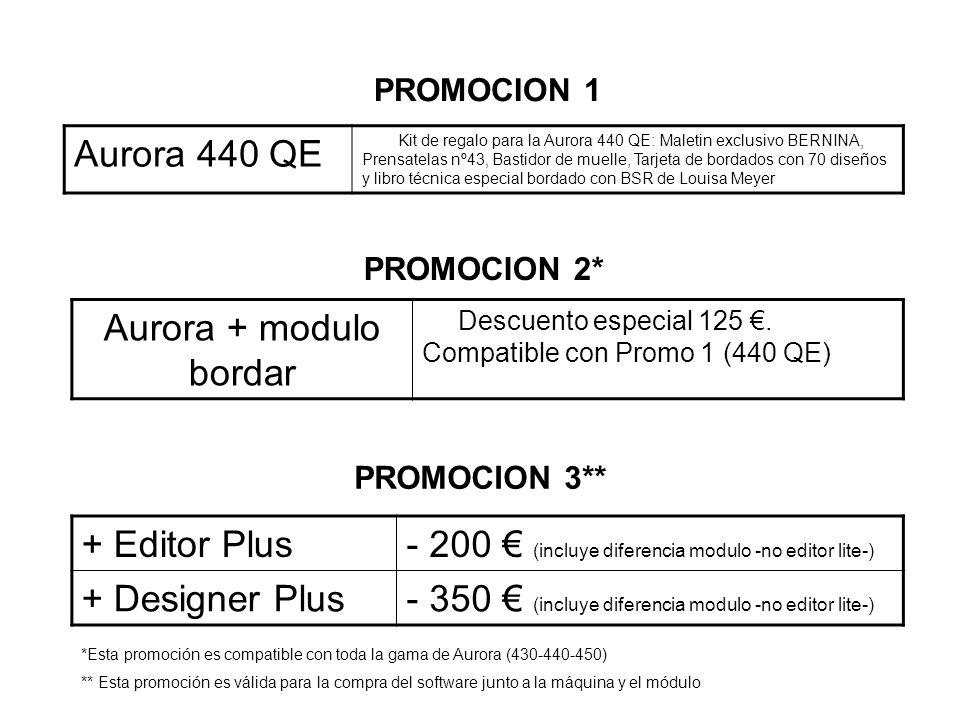 … y si ademas añades el software de bordar a la compra de tu Aurora 440 QE, 430 o 450 con modulo*... * Si realiza la compra añadida del software de bo