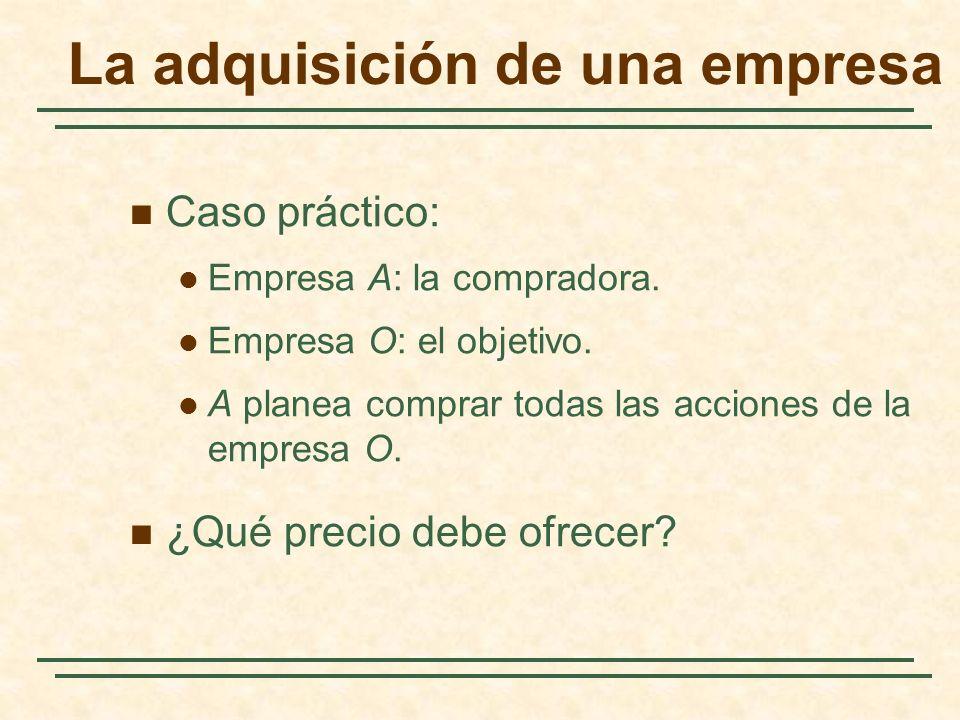 La adquisición de una empresa Caso práctico: Empresa A: la compradora. Empresa O: el objetivo. A planea comprar todas las acciones de la empresa O. ¿Q