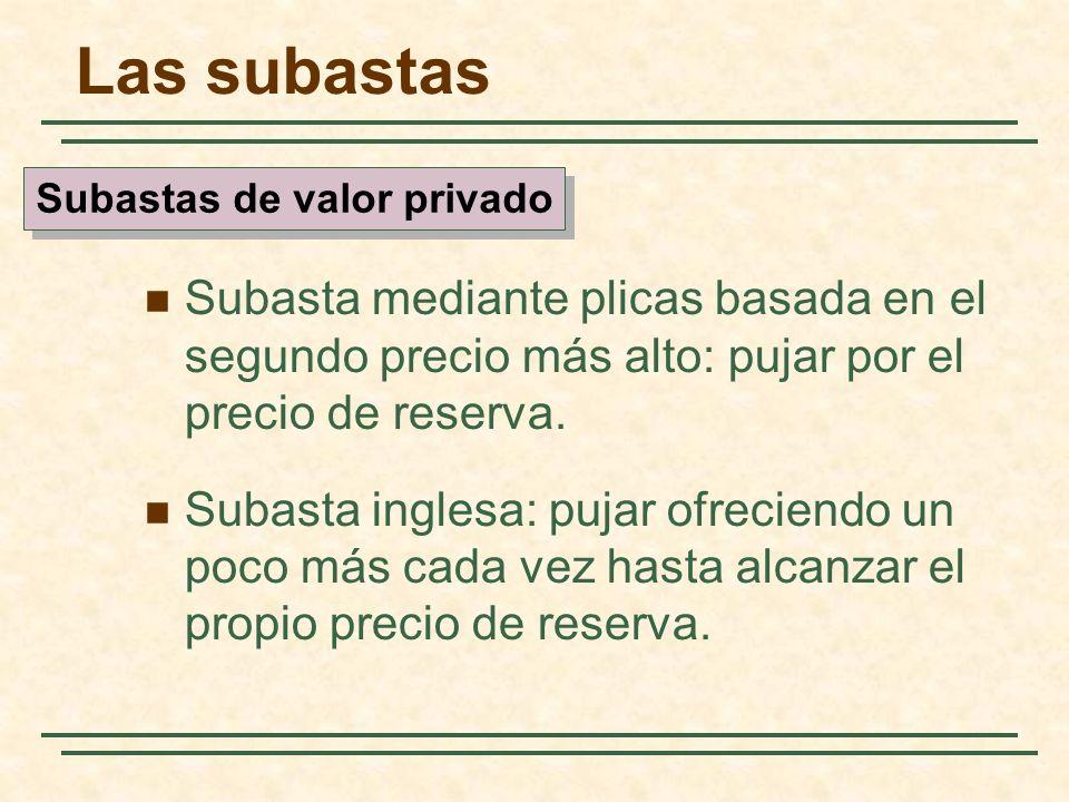 Las subastas Subasta mediante plicas basada en el segundo precio más alto: pujar por el precio de reserva. Subasta inglesa: pujar ofreciendo un poco m