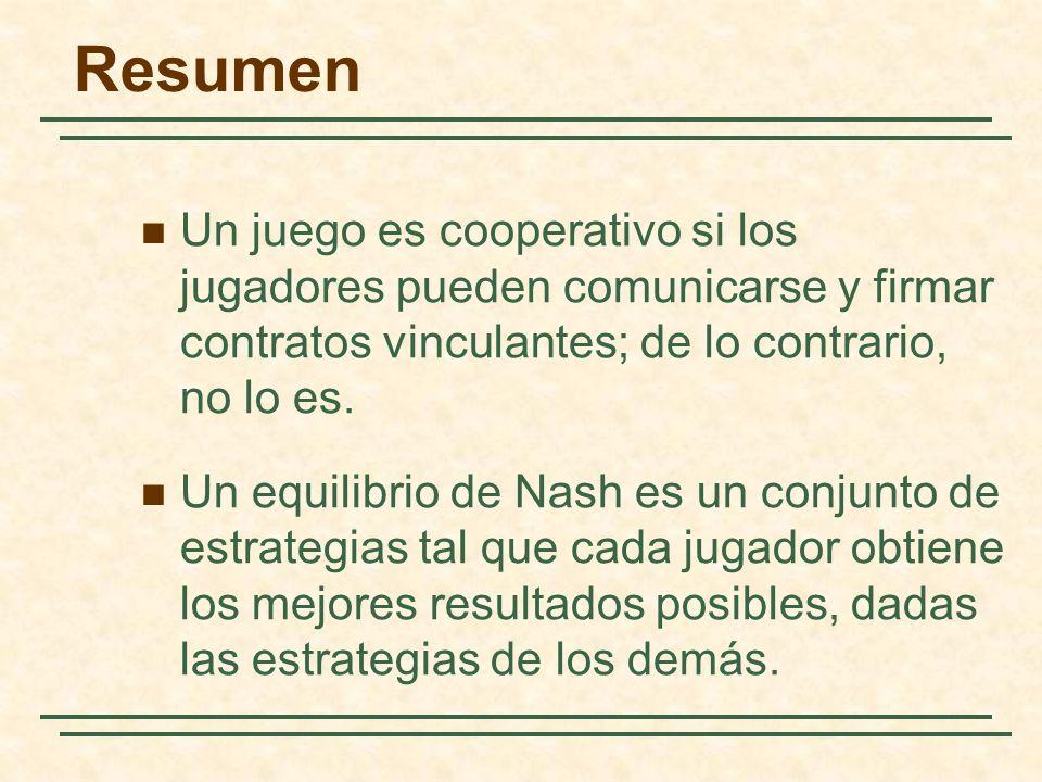 Resumen Un juego es cooperativo si los jugadores pueden comunicarse y firmar contratos vinculantes; de lo contrario, no lo es. Un equilibrio de Nash e