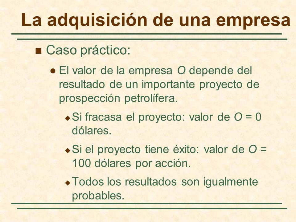 La adquisición de una empresa Caso práctico: El valor de la empresa O depende del resultado de un importante proyecto de prospección petrolífera. Si f