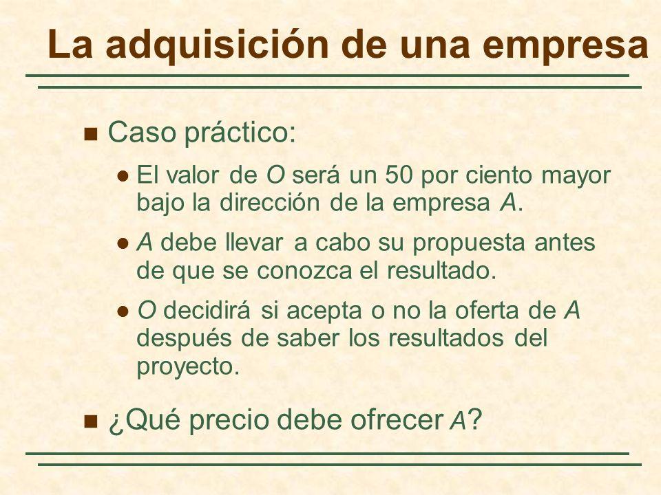 La adquisición de una empresa Caso práctico: El valor de O será un 50 por ciento mayor bajo la dirección de la empresa A. A debe llevar a cabo su prop