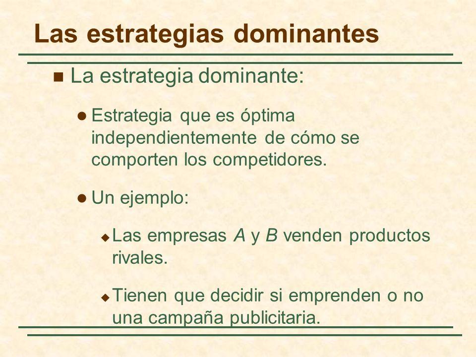 Las estrategias dominantes La estrategia dominante: Estrategia que es óptima independientemente de cómo se comporten los competidores. Un ejemplo: Las