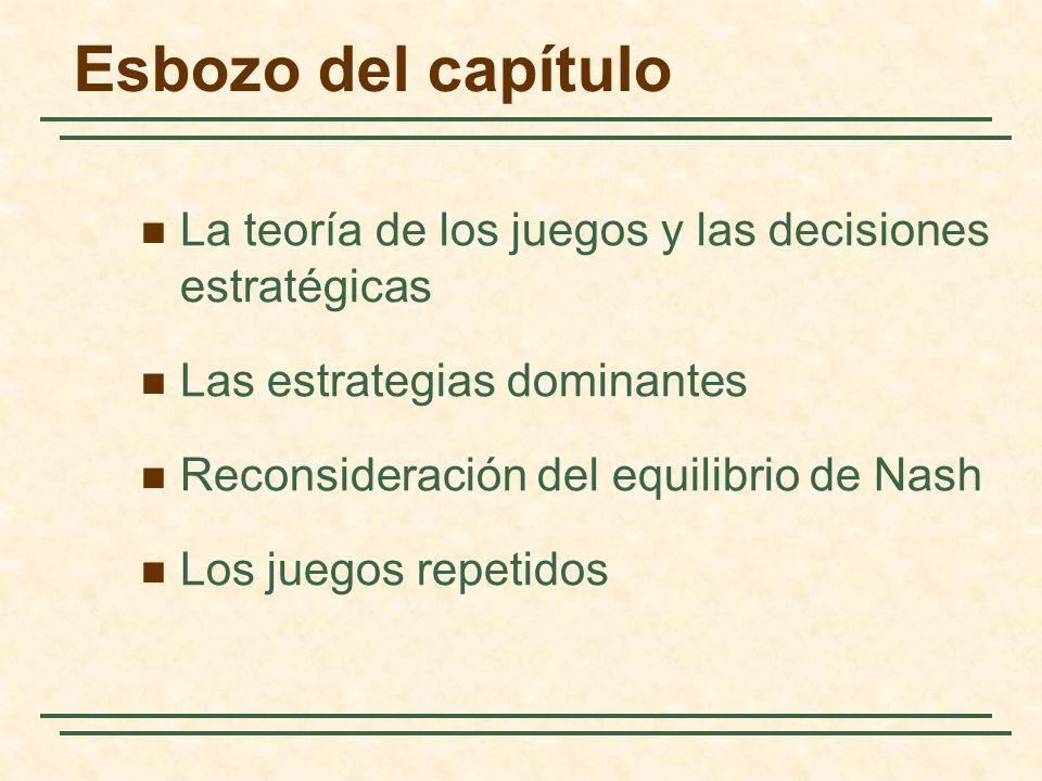 Esbozo del capítulo La teoría de los juegos y las decisiones estratégicas Las estrategias dominantes Reconsideración del equilibrio de Nash Los juegos