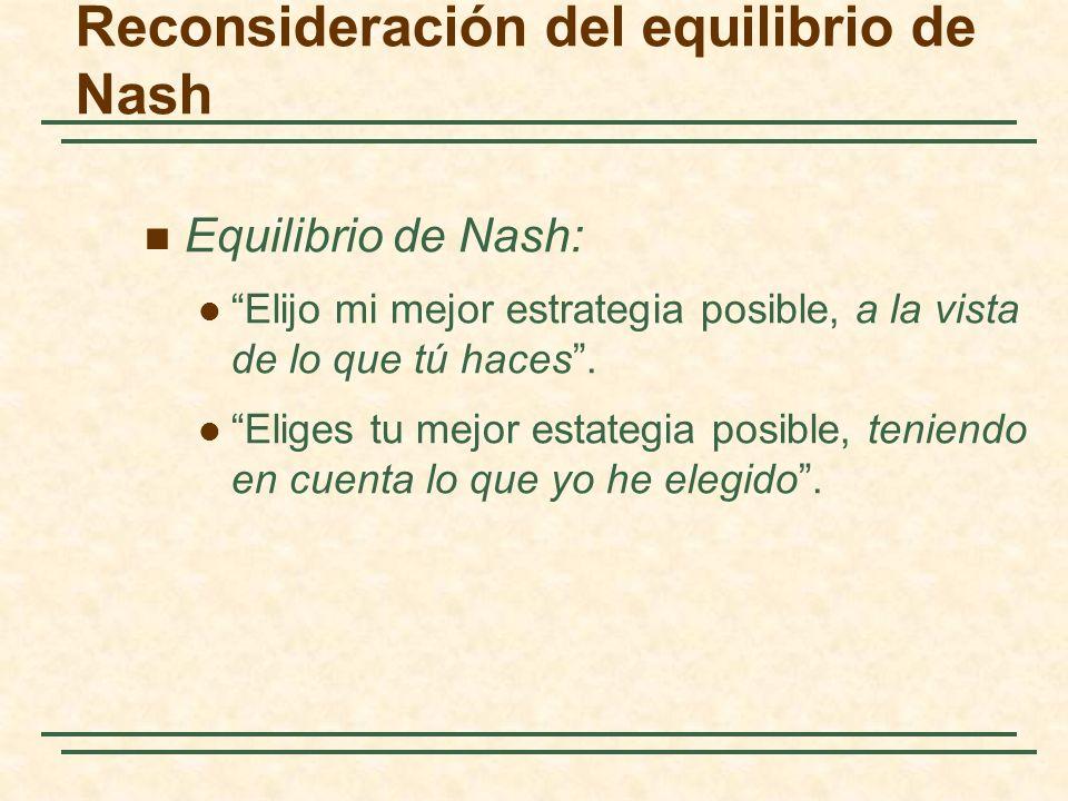 Reconsideración del equilibrio de Nash Equilibrio de Nash: Elijo mi mejor estrategia posible, a la vista de lo que tú haces. Eliges tu mejor estategia