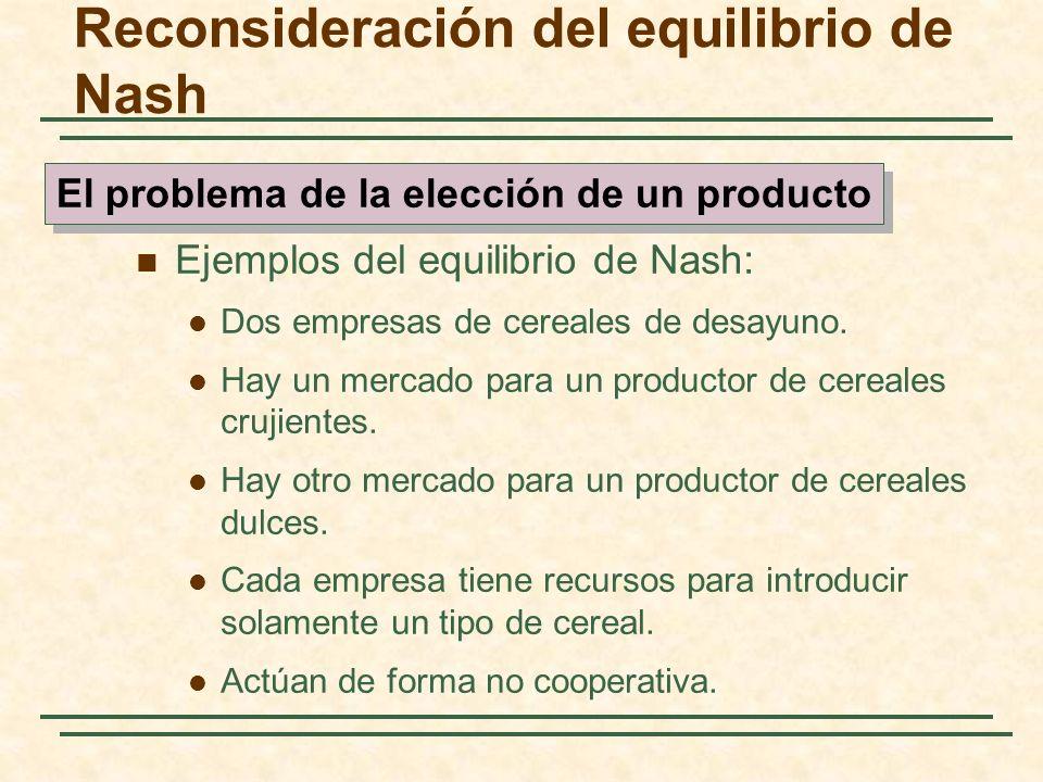 Ejemplos del equilibrio de Nash: Dos empresas de cereales de desayuno. Hay un mercado para un productor de cereales crujientes. Hay otro mercado para