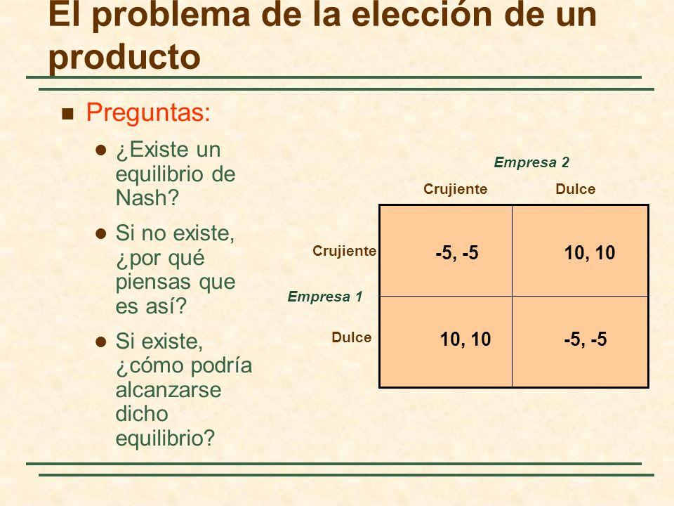 El problema de la elección de un producto Empresa 1 CrujienteDulce Crujiente Dulce Empresa 2 -5, -510, 10 -5, -510, 10 Preguntas: ¿Existe un equilibri