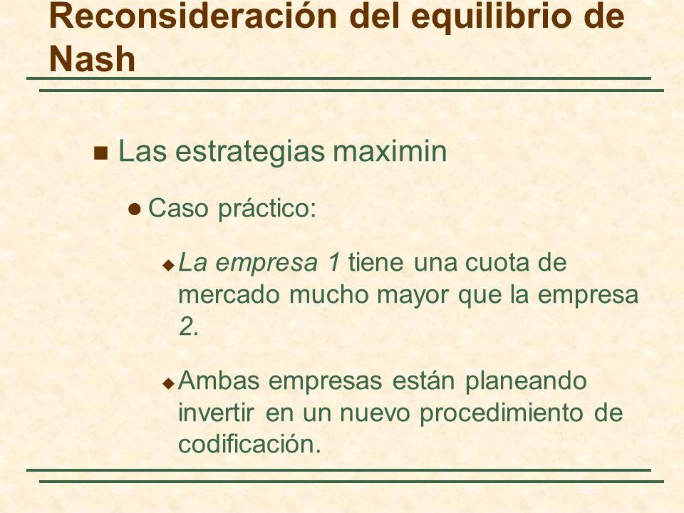 Reconsideración del equilibrio de Nash Las estrategias maximin Caso práctico: La empresa 1 tiene una cuota de mercado mucho mayor que la empresa 2. Am